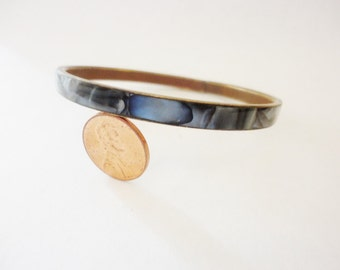 vintage bangle bracelet grey seashell inlay on brass