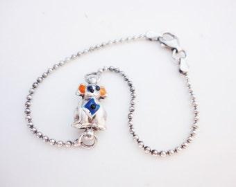 vintage sterling bracelet silver 925 enameled dog on ball chain