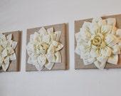 "Burlap -SET OF THREE Ivory Dahlias on Burlap 12 x12"" Canvas Wall Art- Home Decor"