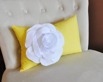 White Rose on Banana Yellow Lumbar Pillow -Decorative Pillow-