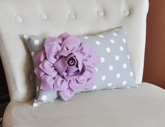 Decorative Pillow Lilac : Decorative Lumbar Pillow Lilac Dahlia on Gray and White Polka