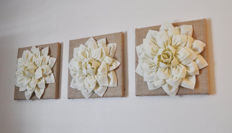 Burlap Home Decor Ideas: Burlap SET OF THREE Ivory Dahlias On Burlap 12 X12