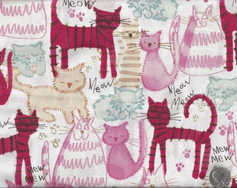 I Love My Cartoon Cats Meow Mew I Spy Cat Fabric By the Fat Quarter