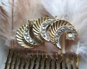 Rhinestone hair comb | moon headpiece | vintage | gold hair piece