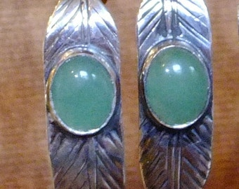 Long Narrow Sterling Silver Silversmithed Leaf Earrings with Oval Stone Green Adventurine  Cabochons