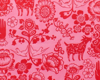 Las Golondrinas - Hot Pink/Red   Folklorico Alexander Henry  1 Yard Fabric NEW