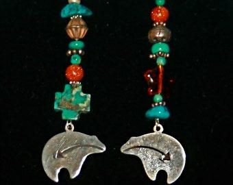 Zuni Bear Charms, Turquoise Earrings