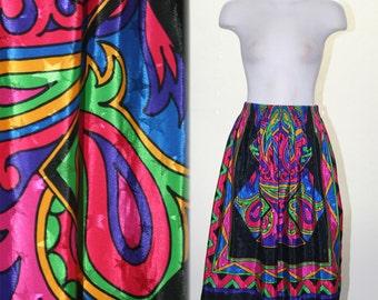 Vintage Bright Colorful Print Skirt or Tent Dress Star Print