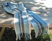 Lightweight Blue Stripe Scarf Handwoven Cotton Zen Simplicity Seaside Spring Summer Outdoor Indoor Mens Womens Urban Yoga Casual Fashion