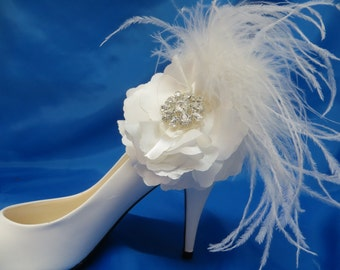 Bridal Shoe Clips, Flower Shoe Clips, Feather Shoe Clips, Bridal Shoe Accessory,