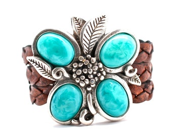 Statement Bracelet , Statement Jewelry , Turquoise Cuff , Silver Bracelet , Leather Bracelet , Silver Cuff ,  Amy Fine Design