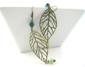 Earthy Jewelry - Copper Leaf Earrings - Nature Jewelry - Crystal Fall Jewelry - Large Dangle Earrings - Fall Fashion
