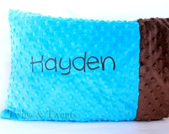 Personalized Minky Toddler Pillow Case- Turquoise with Chocolate Minky