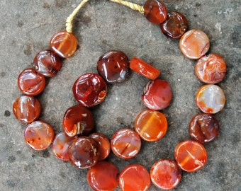 Carnelian Beads: Discs 22mm