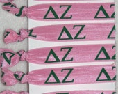 Set of 6 ready-made Delta Zeta sorority Hair Ties FOE stretch foldover fold over elastic