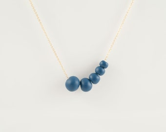 Antalya Porcelain Royal blue Beads,Porcelain And Gold Necklace , 14 KT Gold Fill Fine Chain ,Porcelain Jewelry,Ceramic ,minimalist jewelry