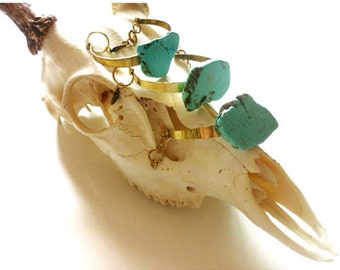 Ready To Ship- Turquoise Slab Bracelet, Brass Cuff, Bangle, Armlet