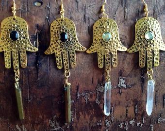 Gold Hamsa Hand Crystal Earrings
