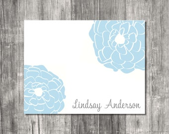 Personalized Note Cards Set - Soft Blue Floral