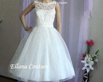 Sandra - Beautiful Vintage Inspired Tea Length Wedding Dress.