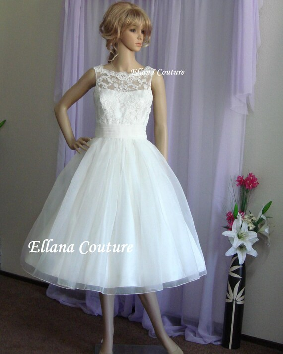 Sandra Beautiful Vintage Inspired Tea Length Wedding Dress