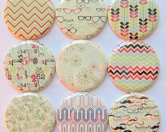 Hipster Magnets - Set of Nine 1.25 Inch Button Magnets Packaged in a Custom Box