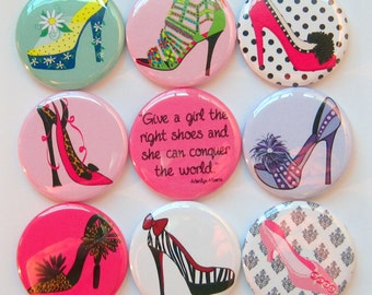 Shoe Magnets - Set of Nine 1.25 Inch Button Magnets Packaged in a Custom Box