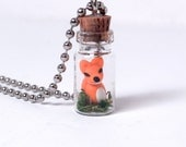 Tiny Terrarium with Foxy the Woodland Fox Necklace
