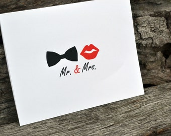 Wedding Thank You Cards / Bridal Shower Thank You Notes / Thank You Cards / Bowtie and Red Lips / Mr. and Mrs. Note - Bow Tie and Red Lips