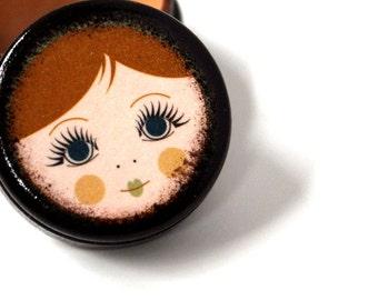 Doll Face Pill Box - Light Hair Babushka Doll - Stocking Stuffers