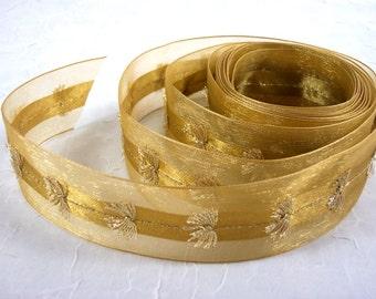 Ribbon Gold Wired Sheer Edges Center Tassel Detail for Christmas
