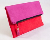 Red and Pink Fold over clutch | Choose your colors