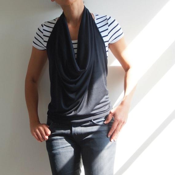 Black drape cowl neck halter top stretch jersey | nursing or maternity top | Wanderlust Clothing | shirt | tank | t-shirt | backless |