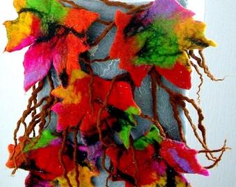 Messenger Bag-Hand Felted, purse, Woman  handbag or Clutch    -  makeap -ART BAG-LEAFS-