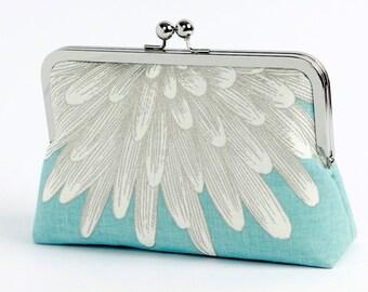 Aqua Chrysanthemum  silk lined floral clutch, Bag Noir, Bridesmaid clutch, Weddings bride formal clutch purse