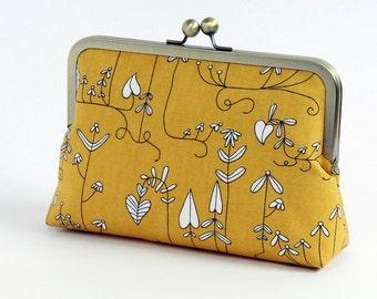 Hearts ,yellow clutch, BagNoir, Wedding clutch, Valentine's Day gift, Bridesmaid gift idea, Evening purse, Bridesmaid clutch