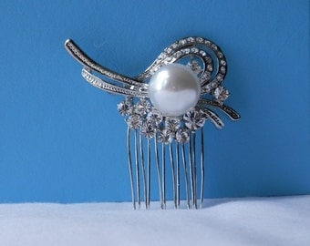 SALE *** Bridal Hair Comb Rhinestone Glass Pearl, Wedding Hair comb, Party Hair Accessory (H394)