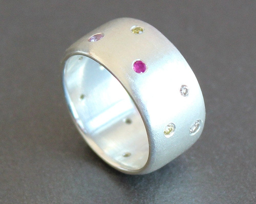 Wide Silver Ring with Diamonds Pink Sapphires and Rubies
