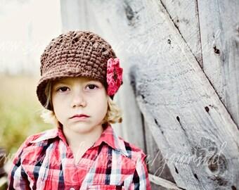 Toddler Crochet Hat, Toddler Hats, Kids Crochet Hats, Crochet Newsboy Hat in Brown Cotton, Newborn to Adult
