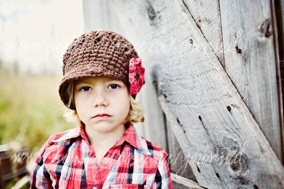 Toddler Crochet Hat, Toddler Hats, Kids Crochet Hats, Crochet Newsboy Hat in Brown Cotton, 12 Months to 4T