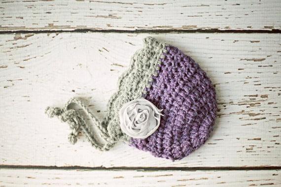 Crochet Baby Hat Photo Prop, Newborn Girl Bonnet, Baby Girl Hat, Purple, Gray, Baby Alpaca, Newborn Size, READY TO SHIP