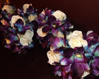 Bridesmaids bouquet, blue orchids and roses, Choose your own orchid