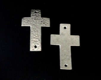 Silver Cross Connector - Hammered Cross Curver - Sideways Bracelet Link Focal - 2 Hole Cross Charm Pewter - 3 Pcs - Jewelry Supplies in Bulk