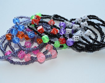 Bunco bracelets, lot of 12, designer's choice, glass seed beads with 3 dice, stretch bracelets