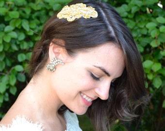 Bridal Headpiece, Wedding Headpiece, Rhinestone Hair Comb, Beaded Hair Comb, Gold Lace Headpiece,Wedding Hair Piece,Bridal Hair Comb