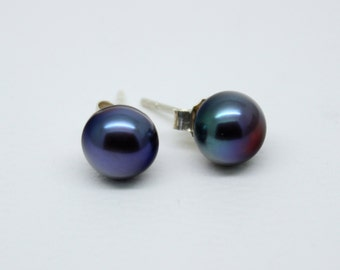 4mm 6mm 7mm 8mm Pearl Earrings in Sterling Silver - Studs- See Full Listing - Black Peacock White Mauve Peach Copper - June Birthstone