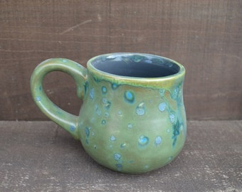 Forest Green and Gray - Handpainted Ceramic Coffee Mug - Speckled Glaze - OOAK