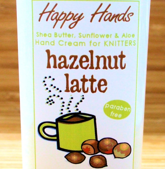 Hazelnut Latte Scented Hand Cream for Knitters - 4oz Medium HAPPY HANDS Shea Butter Moisturizing Hand Lotion