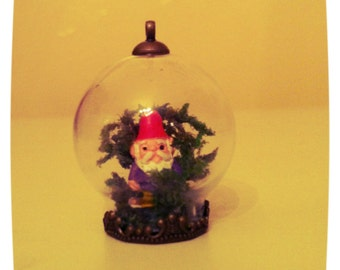 Miniature Gnome Garden Terrarium Pendant or Ornament
