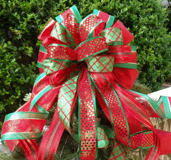 Red And Green Christmas Tree Bow Topper Christmas Tree Bow